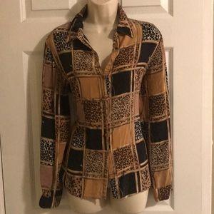 allison taylor silk blouse top size L